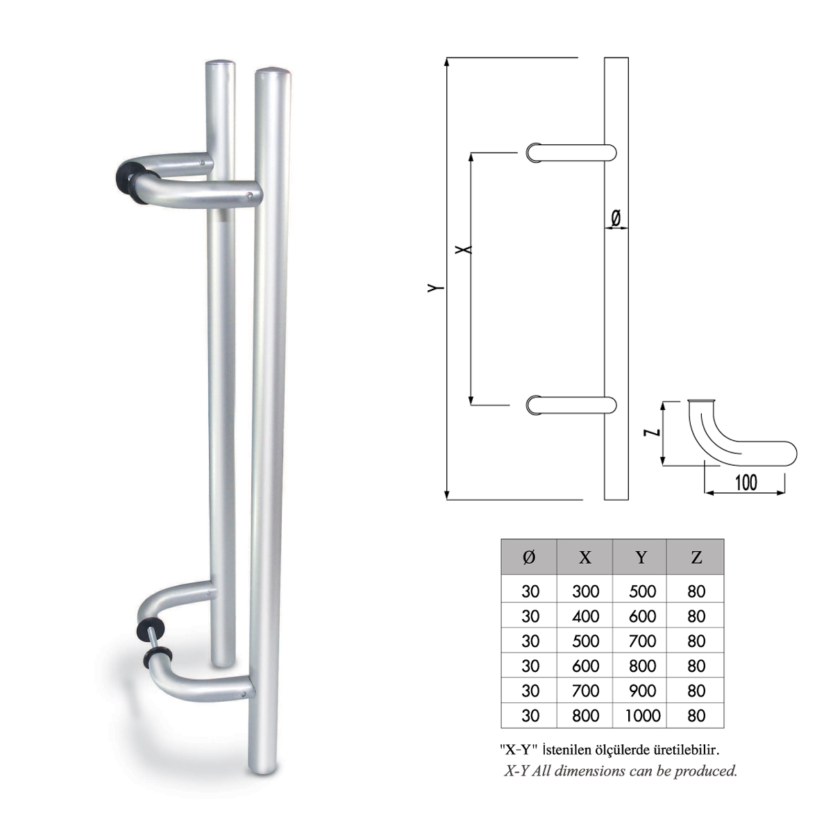 F01 - 503 KÖŞELİ H KOL ANGLED PULL DOOR HANDLE H TYPE