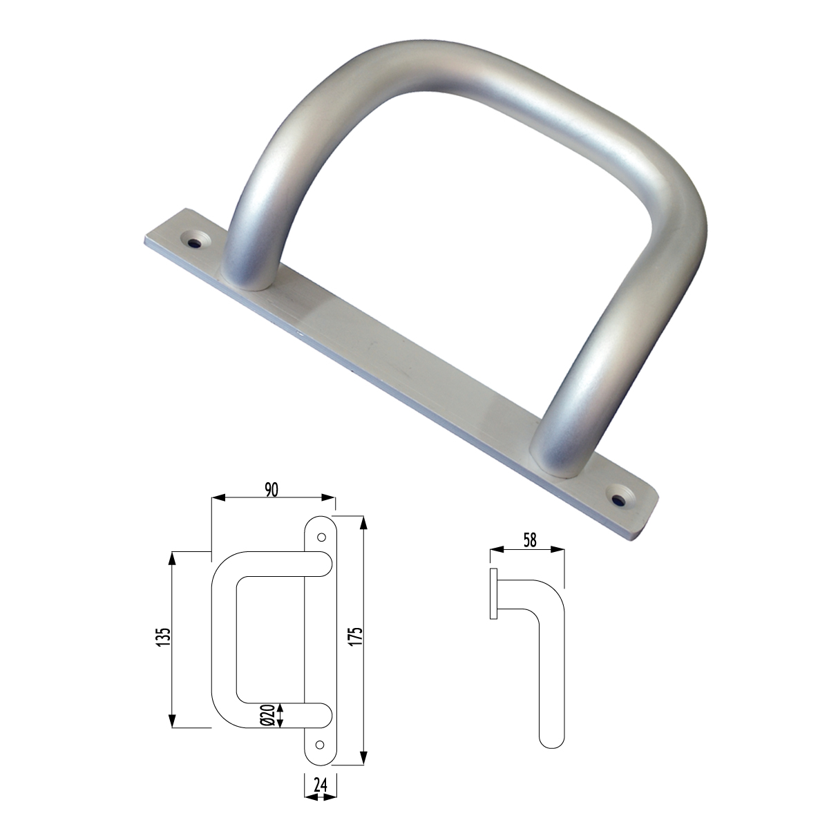 F01 - 517 MİNİ KIVRIK KOL AYNALI BENT SEMI CIRCLE HANDLE WITH PLATE
