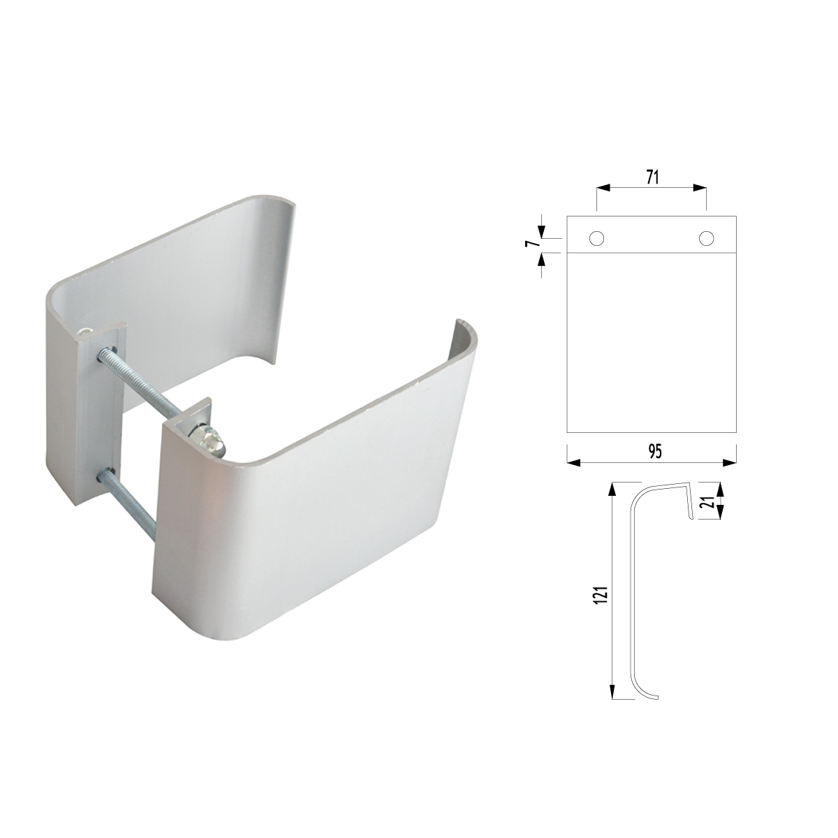 F01 - 520 KARE KOL DOOR PULL HANDLE SQUARE TYPE