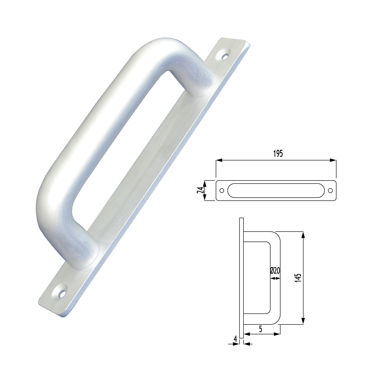 F01 - 515 MİNİ U KOL AYNALI MINI HANDLE U TYPE WITH PLATE