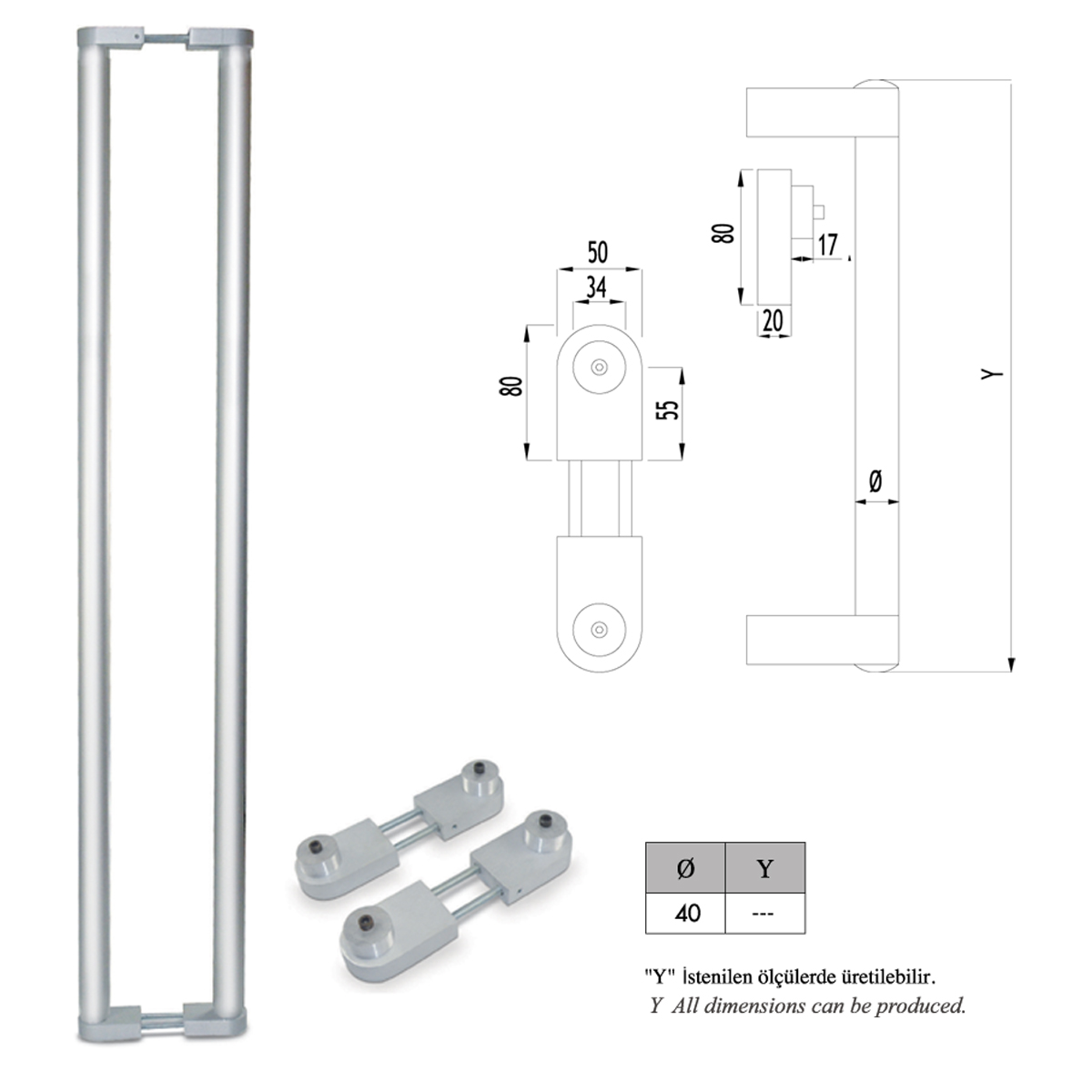 F01 - 514 NAL TİPİ KOL PULL DOOR HANDLE NAL TYPE